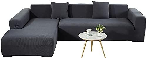 KIKIGO Sofabezug FüR L-Form,Eck Stretch-Sofabezug Stretch Sofabezug,Dark Gray_l_Style-3+4_Seater