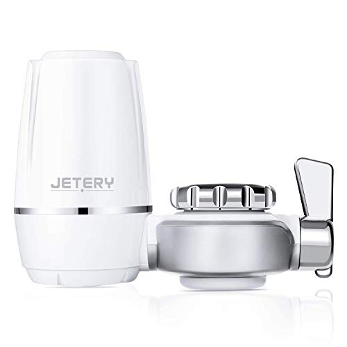 JETERY Faucet Water Filter 320-Gallon Long Lasting Tap Water Filtration System with Carbon Fiber Filter for Home Kitchen, Fits Standard Faucets, JT-5140