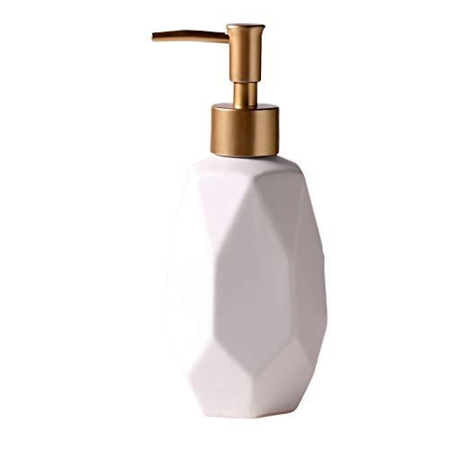WYWY Dosificador Jabon Cerámica dispensador de jabón de baño Cocina Fillable Líquido Loción Botella Diamante Bomba de Mano Ducha Exfoliante Gel Champú Botella Dispensador de jabón