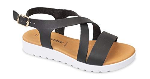 Valleverde Sandalo Donna Pelle 24101 Nero Una Calzatura Comoda Adatta per Tutte Le Occasioni. Primavera Estate 2020. EU 37