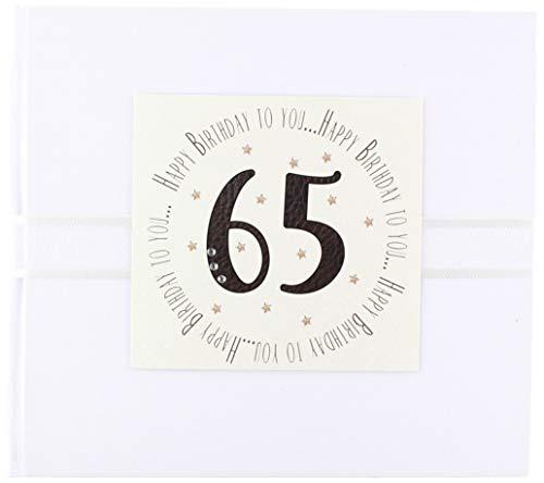 Witte katoenen kaarten 'Happy Birthday to You, 65' gastenboek (MTGA18G)