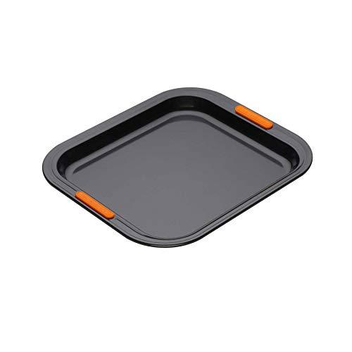 Le Creuset Plaque à Pâtisserie Haute Anti-Adhérente, 31 x 28 cm, sans PFOA, Résistant au Levain, En Acier Siliconé, Anthracite/Orange