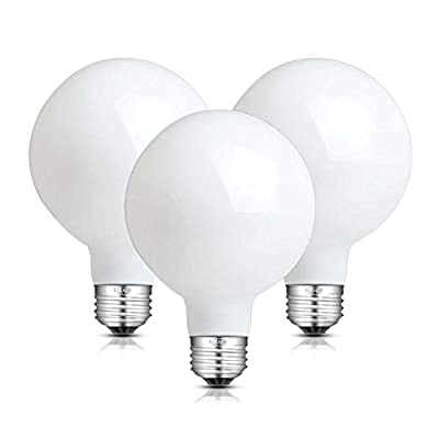 CRLight 8W Edison LED Globe Bulb 80W Equivalent E26 Base Antique G25 / G80 Clear Glass Globular Dimmable LED Filament Bulbs, 3000K / 4000K