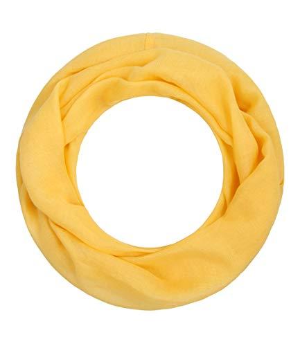 Majea Loop Alice schmaler Damen-Schal Loop Frühlingsschal Schlauchschal Rundschal Tuch uni unisex unifarben einfarbig Halstuch (gelb)