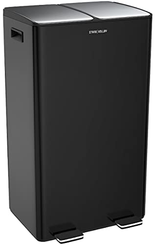 StangVollby EDSBYN Mülleimer - 60L - 2x30L - Schwarz - Duo-Tret-Abfalleimer - Abfalleimer mit 2 Fächern - Hochwertiger Edelstahl - Soft-Close-Deckel - Klappbare Pedale - Küchenabfalleimer