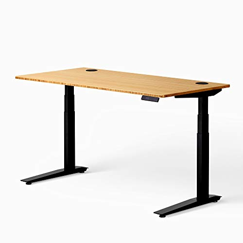 """Fully Jarvis Standing Desk 60"""" x 30"""" Natural Bamboo Top - Electric Adjustable Desk Height from 25.5"""" to 51"""" with Memory Preset Controller (Rectangle, Black Frame)"""