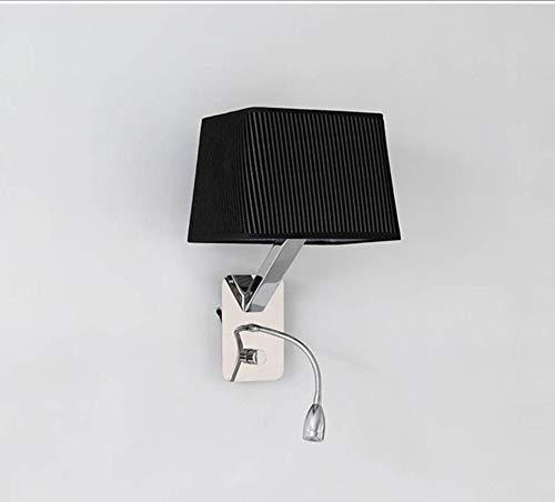 MGWA Aplique de-Simple lámpara de Pared de Acero Inoxidable con la Lectura de Luces LED en la Cama, Dormitorio Sala de Estudio Pasillo Escaleras de iluminación, Negro Luces de Pared