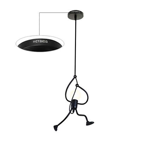 Pendelleuchte, HeTaiDa Metall Retro Vintage Industrie LED Kronleuchter E27 Lampenfassung Geeignet für Wohnzimmer Schlafzimmer Büro