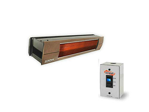 SUNPAK Model S34 B TSH Two Stage Hardwired 25,000 to 34,000 BTU Infrared Outdoor Patio Heater (Natural Gas, Black Casing w/Bronze Front Fascia Kit)