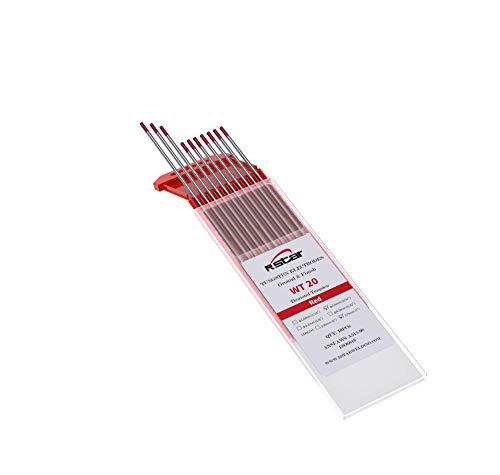 WT20 TIG Soldadura Electrodos de Tungsteno Contienen 2% Thoriado (Punta Roja) electrodos de tungsteno Ø2,4X175mm 10 electrodos
