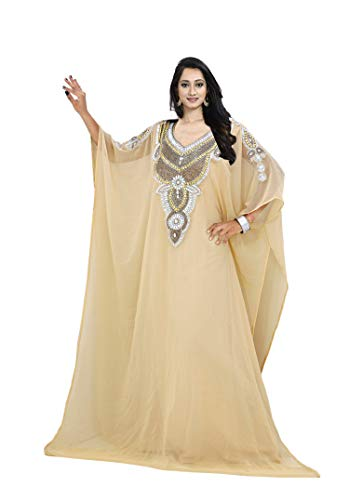 KoC Damen Kleid Dubai Kaftan Farasha Caftan lang Maxikleid Abaya Jalabiya - beige - Einheitsgröße