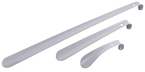 Schuhanzieher/Schuhlöffel aus grau pulverbeschichtetem Stahl, mit Aufhängeöse, sehr stabile Qualität/Länge: 16, 30,5 oder 58 cm | ERK (A3 - Länge: 58 cm)