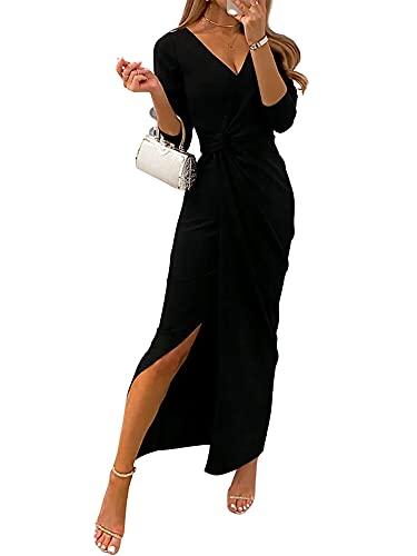 Aststle Vestiti della Sera e Cerimonia da Donna Abito da Cerimonia Donna in Chiffon Damigella Vestito Lungo Elegante Festa (Black, X-Large)