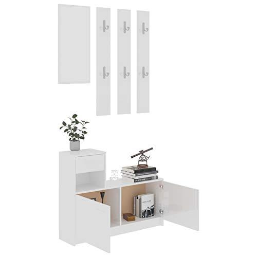 Tidyard Set 3 Pezzi Mobile da Ingresso con Specchio e scarpiera, Entratina con Cassetto, in Truciolato,100x25x76,5 cm,Bianco Lucido,Grigio