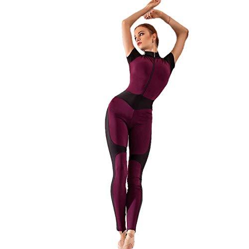 QPXZ Pantalon Sportbekleidung Damen Fitnessstudio Yoga Fitness Bekleidung Sportoverall Anzug Atmungsaktiv Damen Jumpsuit Trainingsanzug Herbst Winter-Red_L