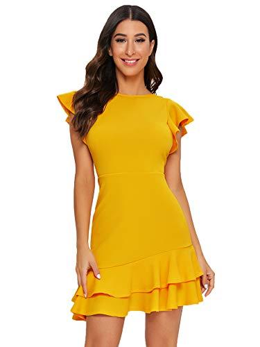 Floerns Women's V Back Inslace Layered Ruffle Hem Flutter Sleeve Dress Yellow S