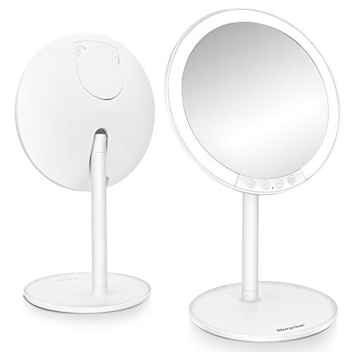 Lighted Makeup Mirror, 7.8'' 1X Vanity LED Mirror with 3 Color Modes & 7-Level Adjustable Brightness, 120 Degree Rotation, USB Rechargeable with Small 7X Magnifying Mirror for Cosmetic