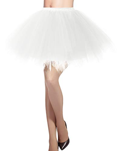 DRESSTELLS Damen Tüllrock 50er Rockabilly Petticoat Tutu Unterrock Kurz Ballett Tanzkleid Ballkleid Abendkleid Gelegenheit Zubehör Ivory L