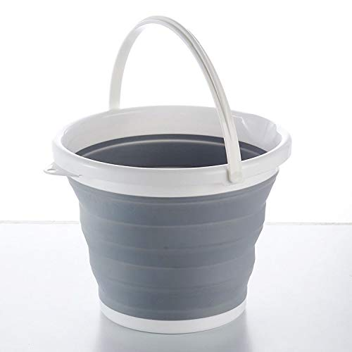 Cubo redondo plegable de silicona de plástico para cocina, camping, jardín 5 L