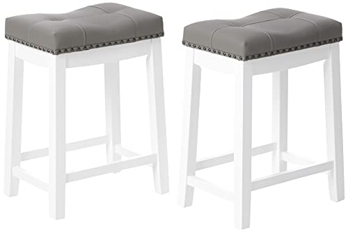 Angel Line Cambridge bar stools, 24' Set of 2, White with Gray Cushion