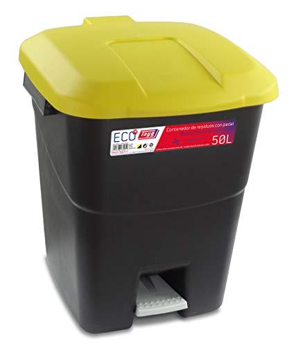 Tayg Tapa Amarilla Contenedor de residuos 50 litros con Pedal, Base Negra