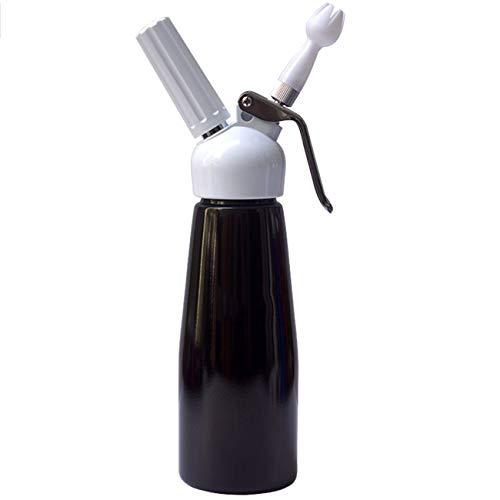 TWW Pistolet À Crème, Mousseur De Crème, Machine À Décorer La Crème, Sorbetière De Décoration De Café, Siphon Bouteille,Noir