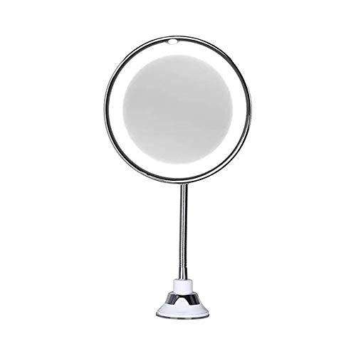 GJX Miroir Cosmétique Miroir grossissant Maquillage Miroirs Col De Cygne Flexible 360 degrés De Rotation 10X Loupe LED avec Folding Double Support Mural Miroir Salle de Bain Miroir télescopique