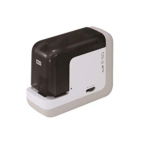MAX USA BH-11F Portable Electric Stapler - Compact, Powerful, Noiseless, Rapid, Automatic, Touchless Equipment, Black/White