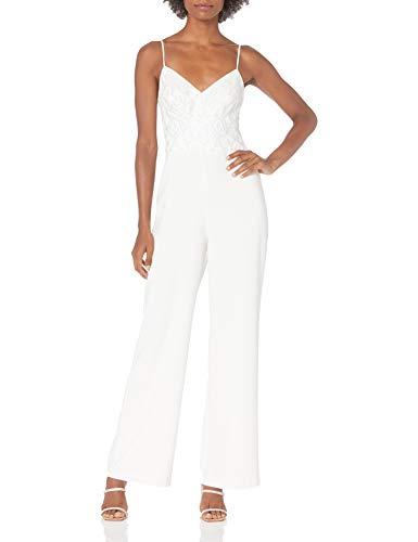Eliza J Women's Spaghetti Strap Sequin Bodice Jumpsuit Dresses, Ivory, 14