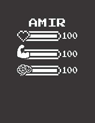 AMIR: Pixel Retro Game 8 Bit Design Blank Composition Notebook College Ruled, Name Personalized for Boys & Men. Gaming Desk Stuff for Gamer Boys. ... Gift. Birthday & Christmas Gift for Men.