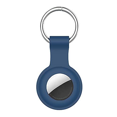Funda Protectora de Silicona para Apple Airtag, Funda Protectora de Silicona para Apple localizador, Dispositivo antipérdida, Llavero (Azul)