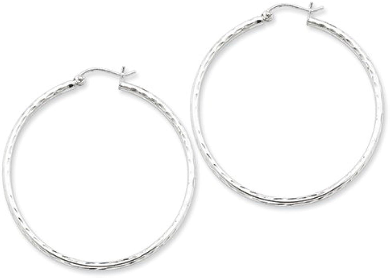 Sterling Silver Rhodiumplated 2mm Diamond Cut Hoop Earrings Hoopearrings