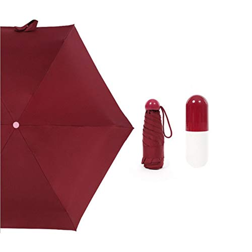 Paraguas Plegable Ultraligero 210T Mini Cápsulas Crema Paraguas Paraguas Plegable de Goma Sombrillas Soleado Viajes (Rojo)