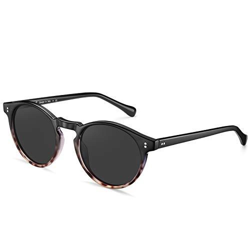 Carfia Runde Polarisierte Sonnenbrille für Damen und Herren, 100% UV Schutz Brille mit TR90 Rahmen