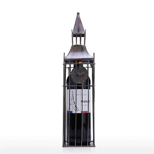 ZAIZAI Soporte para vino, gran campanario, estante para vino, decoración artística, soporte para vino creativo, exhibición de artesanía hecha a mano de hierro y estante de almacenamiento, decoración d