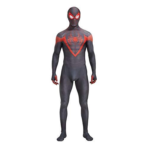 PS5 Spinnenkostüm Superheld Miles Morales Kinder 3D Bodysuit für Erwachsene Kinder Anime Cosplay Jungen Schwarzer Spinnenanzug Lycra Zentai Anzug Halloween Party-ps5-black  Adult-S