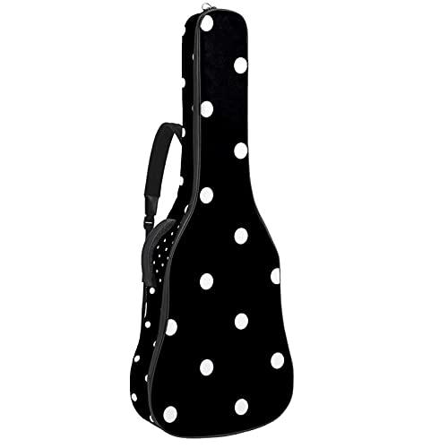 Acoustic Guitar Bag Padding Waterproof Dual Adjustable Shoulder Strap Guitar Bag with Back Hanger LoopWhite Black Polka Dot