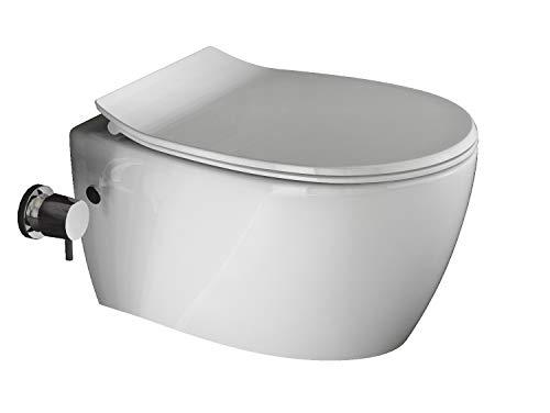Aqua Bagno | Taharet WC | Inkl. flachem Softclose Sitz | Dusch-WC | Hänge-WC | Toilette mit Bidet-Funktion | Tiefspülklosett | Keramik | Spülrandlos | 510 x 363 mm