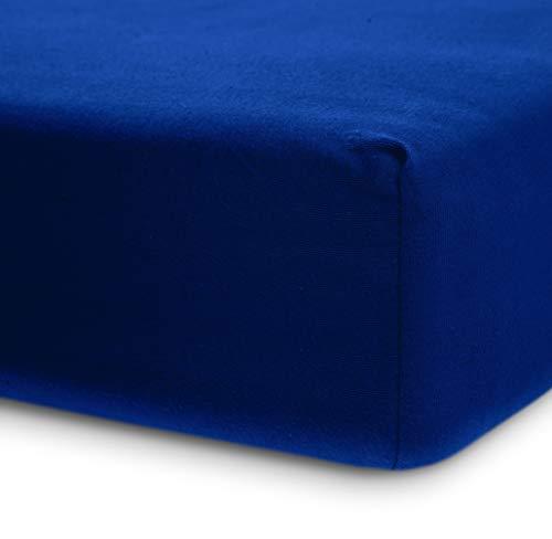 Lumaland Luxury Jersey Spannbettlaken für Wasserbett und Boxspringbett 100 % Baumwolle mit Rundum-Gummizug 140-160 x 200-220 cm Royal Blau