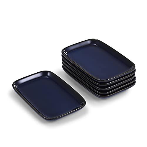 Urban Lifestyle Kleine Teller 6 x für Tapas/Antipasti/Mezze/Servierteller Snackteller 13,2 x 8,5cm; 1,5 cm h, aus Porzellan Schwarzblau