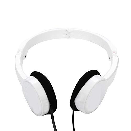 SFBBBO Auriculares Gaming Auriculares Profesionales con Cable para DJ con micrófono sobre la Oreja Monitores de Alta fidelidad Auriculares de música Auriculares para Juegos para PC Blanco