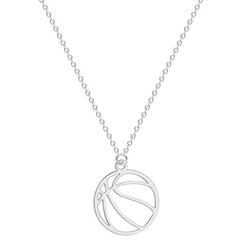 Personalidad Moda Moda Accesorios Baloncesto Colgante Collar Clavícula Cadena Joyería Joyería Europea y Americana Acero Inoxidable Collar Mujer