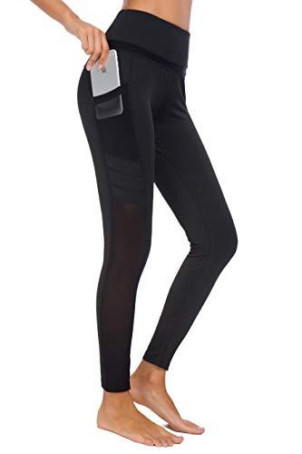 Munvot Damen Sporthose Sport leggings Tights, U3916 - Schwarz (Tech Mesh), XL (DE44-46)