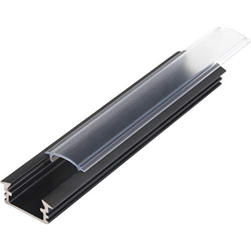 KIT de 6 x 1 mètre P1 Profilé en aluminium NOIR pour les bandes LED avec couvercles transparents, bouchons et clips de fixation