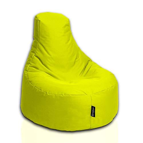 BuBiBag Sitzsack Gamer Junior Sessel Sofa Sitzkissen Sitzmöbel Beanbag Sitz-Kissen für Kinder (55 cm Durchmesser,Gelb)