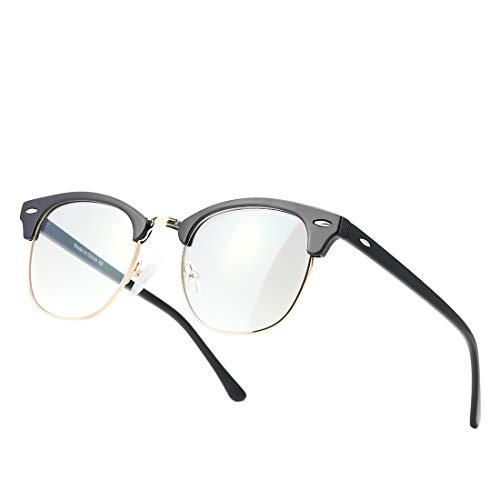 Kimorn Blaulichtfilter Brille Halb-Randlos- computerbrille - Anti Müdigkeit, Anti Blaulicht (TV, PC, Bildschirme…) Für verbesserten Schlaf KS052 (Rahmen aus glänzendem Schwarzgold/Anti-Blaulichtlinse)