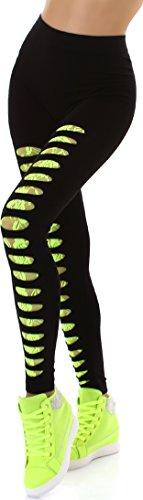 SL1 Damen Schwarze Leggings High Waist Stretch-Hose Hoher Bund Destroyed Risse Löcher Spitze Netz Fishnet Geblümt, Neon Gelb