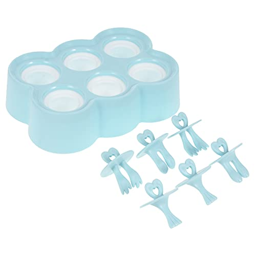 FRCOLOR Moldes de Picolé Molde De Gelo De Plástico Com 6 Fabricantes de Picolé Varas Reutilizável para Caseiro DIY Ice Cream Moldes Ice Que Faz Ferramentas para Crianças Azuis
