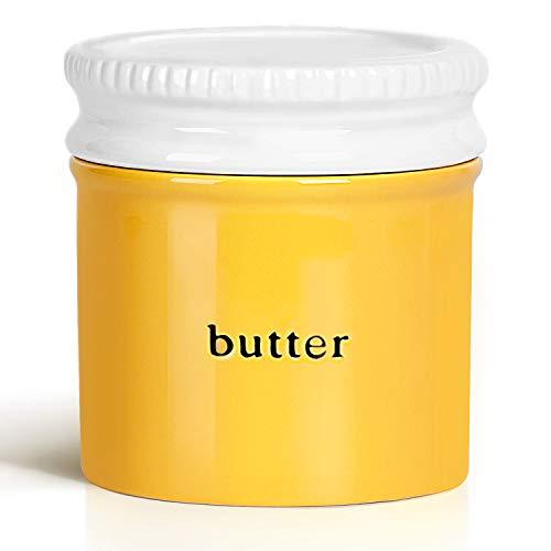 GDCZ Keramik-Butterdose mit Wasserlinie, Porzellan-Butterbehälter mit Deckel gelb
