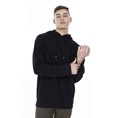 Levi's Heren Ontspannen grafische trui met capuchon, Zwart